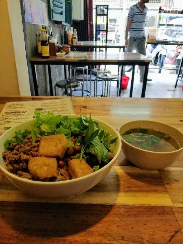 Bún thịt nướng or BBQ dried noodles vegetarian food saigon